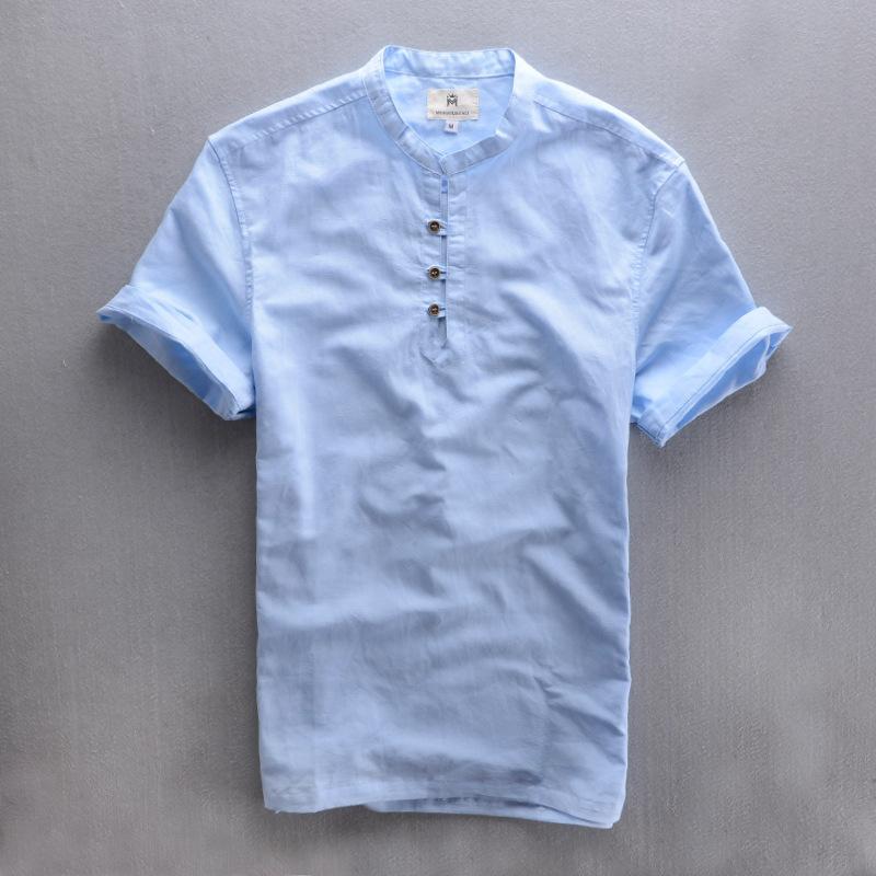 2015 fashion summer mens shirt short sleeve mandarin for Mens summer linen shirts