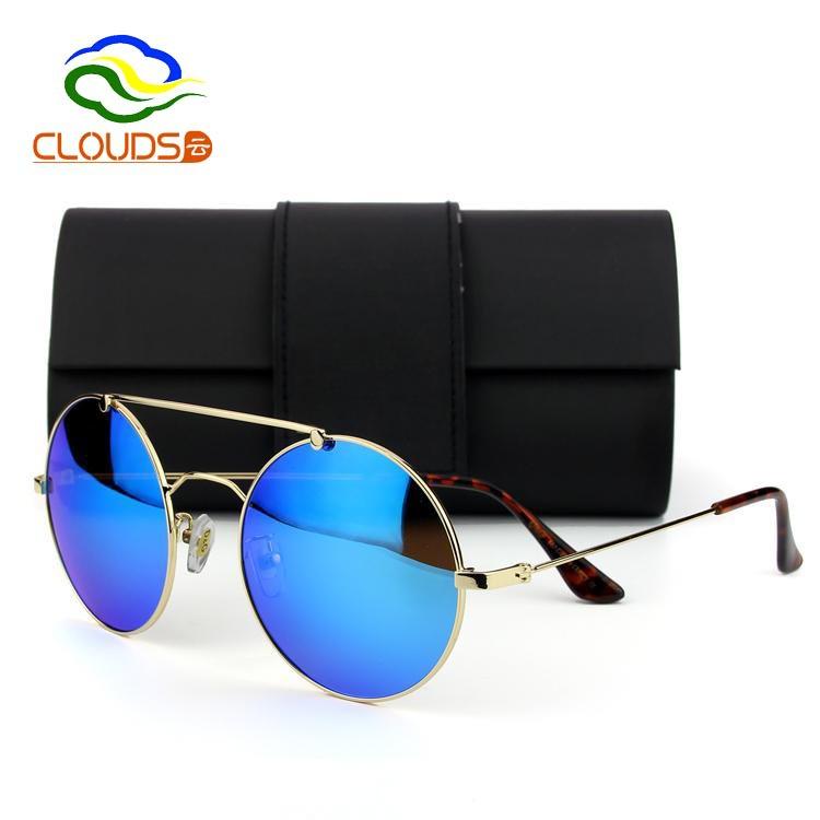 Fashion Metal Frame Vintage Oversized Round Men Sunglasses Brand Designer Luxury Aviator Driving Polarized Big Glasses With Box(China (Mainland))