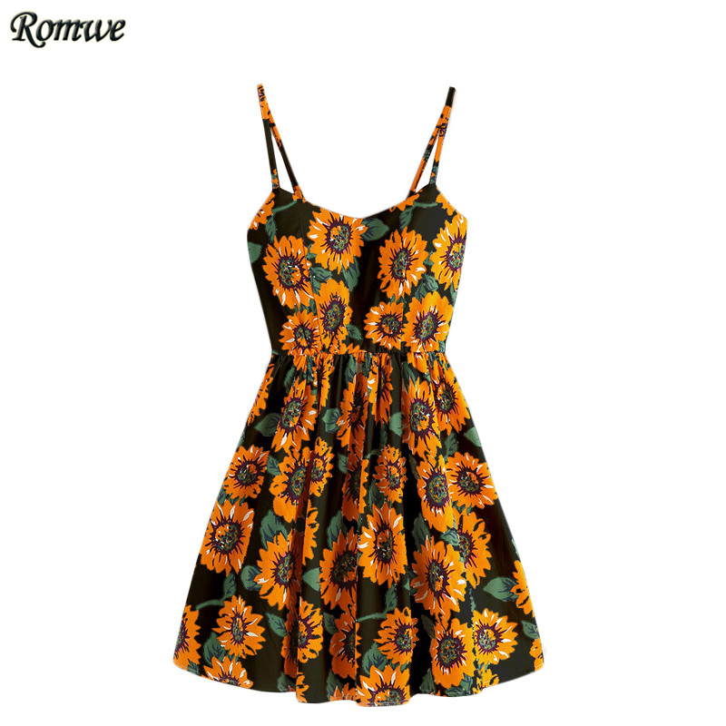 ROMWE Floral Womens Dresses Summer Multicolor Spaghetti Strap Sunflower Print Random Lace Up Back A Line Cami Dress(China (Mainland))
