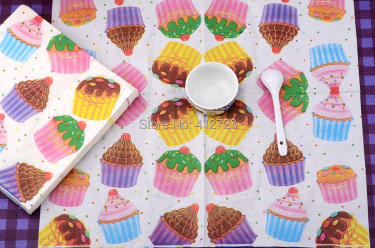 vintage paper napkins dinner party decoration wedding kids birthday cup cake favorite candy gifts wraps napkin - Decorative Paper Napkins