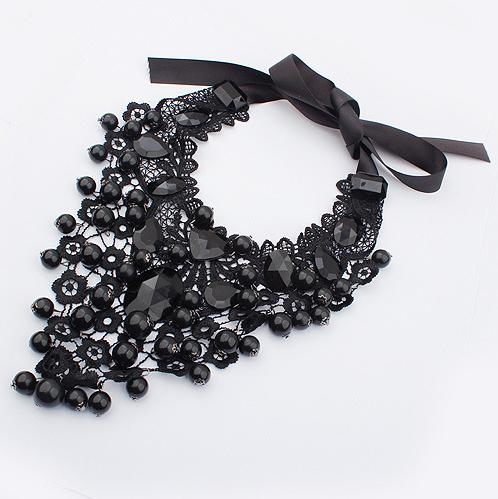 European Style Lace Necklaces Fashion Woman Clothing Jewelry Gothic Black Fake Collar Necklaces 2N049(China (Mainland))