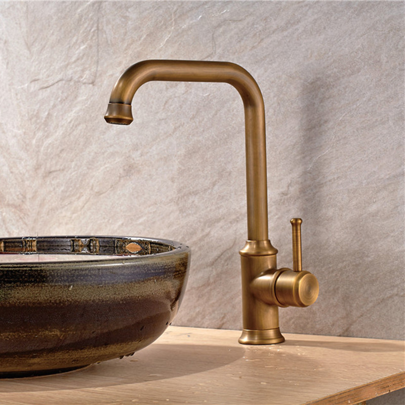 Antique Color gold bathroom faucets water mixer Brass Single Holder Hole Rotatable Ceramic Plate Spool Waterfall Faucet 015F(China (Mainland))