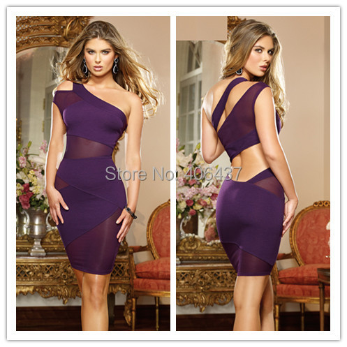 2015 Hot Sale New Sexy Black Chemise Ladies Lingerie Patchwork One Shoulder Women Sheer Mini Dress Night Wear free shipping(China (Mainland))