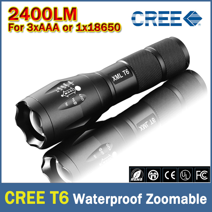 Гаджет  E17 CREE XM-L T6 3800Lumens cree led Torch Zoomable cree LED Flashlight Torch light For 3xAAA or 1x18650 Free shipping None Свет и освещение