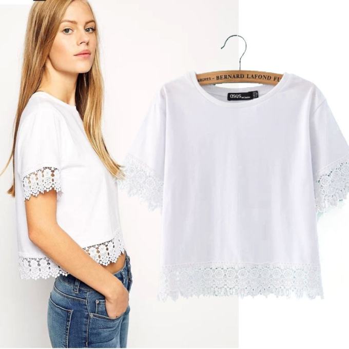 Hot sale white lace crop top for women short cotton summer t shirt wholesale ladies tops(China (Mainland))