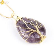 Csja Warna Emas Pohon Kehidupan Kawat Bungkus Air Drop Kalung dan Liontin Reiki Natural Gem Batu Ungu Biru Pembuluh Darah onyx Perhiasan E806(China)
