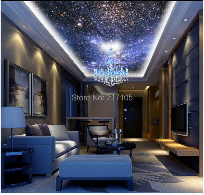 Night sky wallpaper bedroom gallery for Ceiling mural in smokers lounge