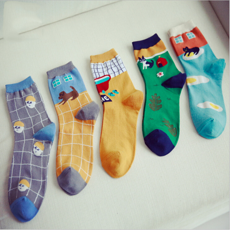 5 colors new design high quality combed cotton autumn winter creative colorful character pattern ladies women brand casual socks(China (Mainland))