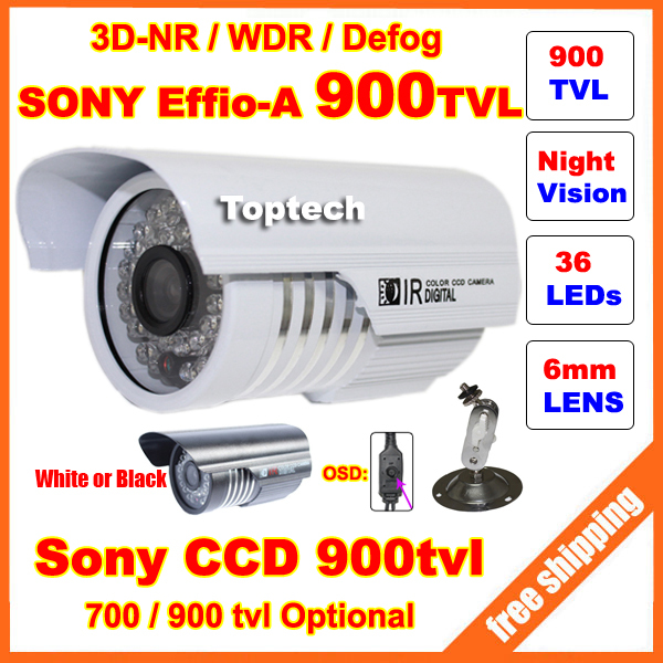HD Security Sony Effio-E 700tvl, -A 900tvl CCD 960H OSD menu 36 leds IR 30 meters outdoor surveillance CCTV Camera with bracket(China (Mainland))