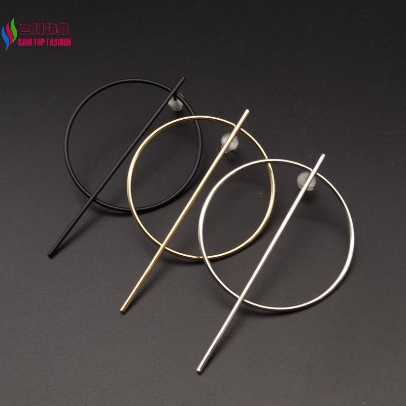 2016 New arrival women's Fashion Punk style Simplicity Copper Big Circle Stick Drop Earrings For party Brincos Grandes(China (Mainland))