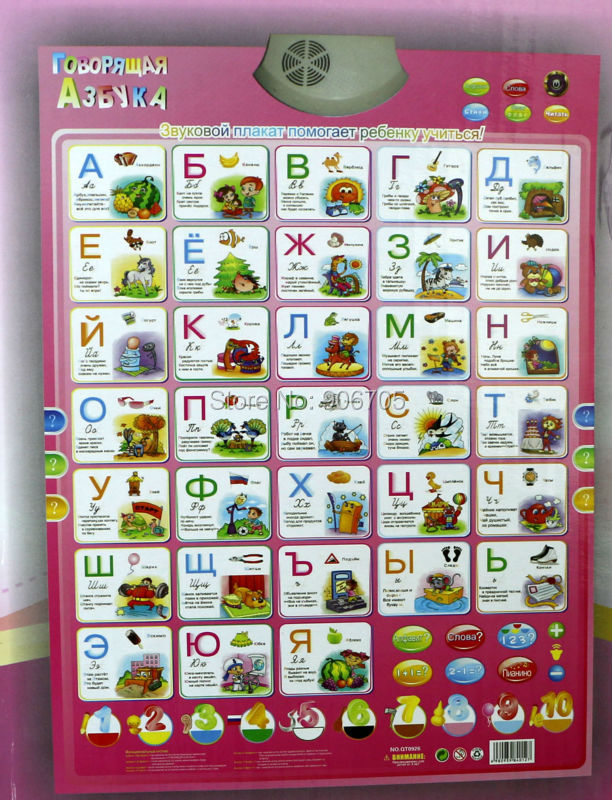 russian language Phonic Wall Hanging Chart with packing box,Learning &amp; Education  baby toy best gift for kids with packing box<br><br>Aliexpress