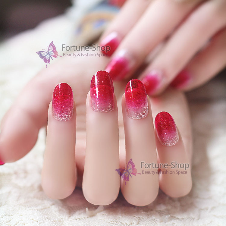 24pcs nails/set New Acrylic French Nail Tips Glitter Rose Red Gradient Round Style Plastic Material 3d Full False Fake Nails #4(China (Mainland))