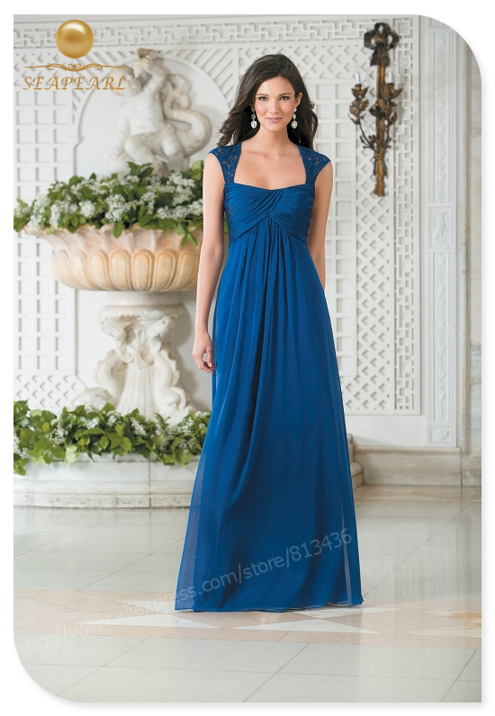 Elegant bridesmaid dresses blue chiffon sleeveless lace for Long straight wedding dresses