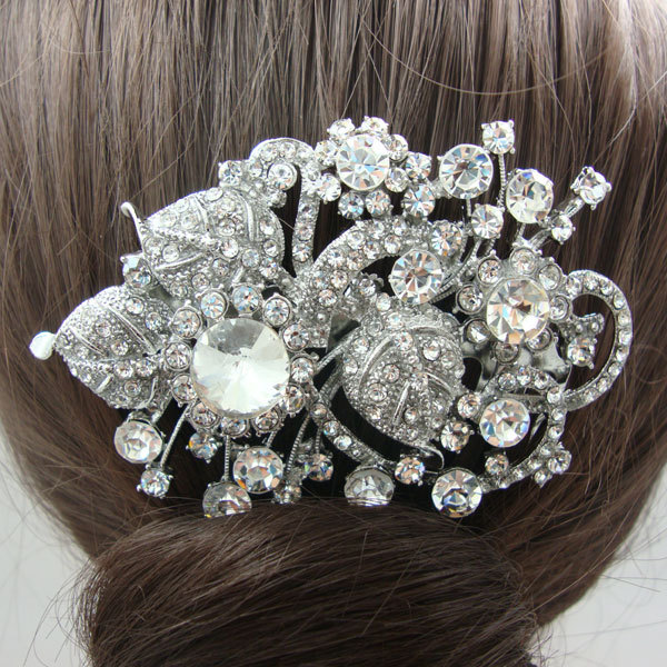 Bridal Hair accessories Fashion Bridal Bridesmaid Wedding Comb Bouquet Clear Rhinestone Crystal Flower Hair Comb(China (Mainland))