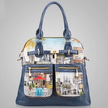 """Новая коллекция 2014. Женская сумка из искусственной кожи в витражном стиле. Модная женская сумка-мессенджер. Женская сумка через плечо с принтом """"картина"""""""