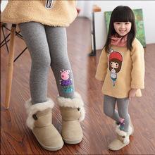 2015 Baby cartoon pig leggings girl winter children's clothing plus velvet thickening long trousers baby girls Warm Pants