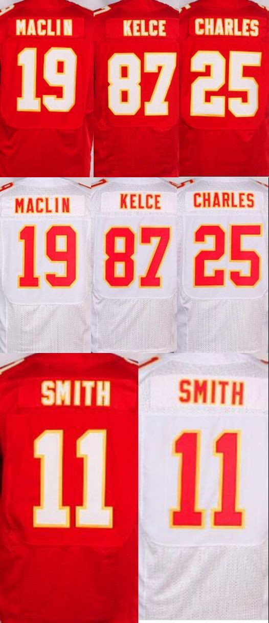 NEW MENS 19 Jeremy Maclin jersey 11 Alex Smith 25 Jamaal Charles 87 Travis Kelce stitched elite(China (Mainland))