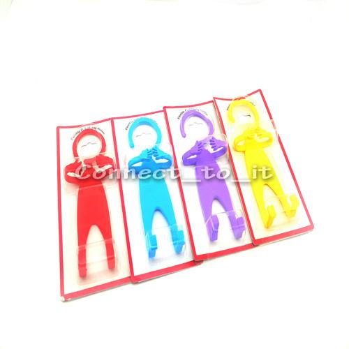 4 pcs/lot Soft Silicone Flexible Cell Phone Holder Funny Human Shape Hanger Smart car holder Flexible Hook Cell Phone Holder(China (Mainland))