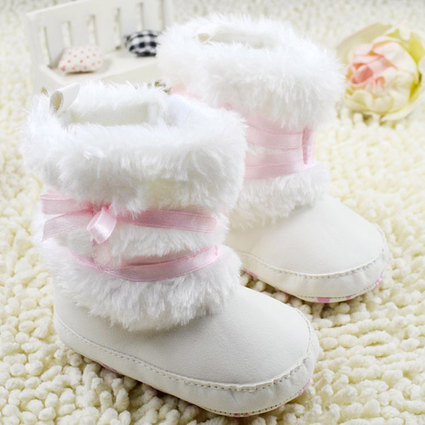 Newborn Baby Girls Bowknot Shoes Soft Crib Shoes Toddler Infant Warm Fleece First Walker baby girls shoes Winter(China (Mainland))