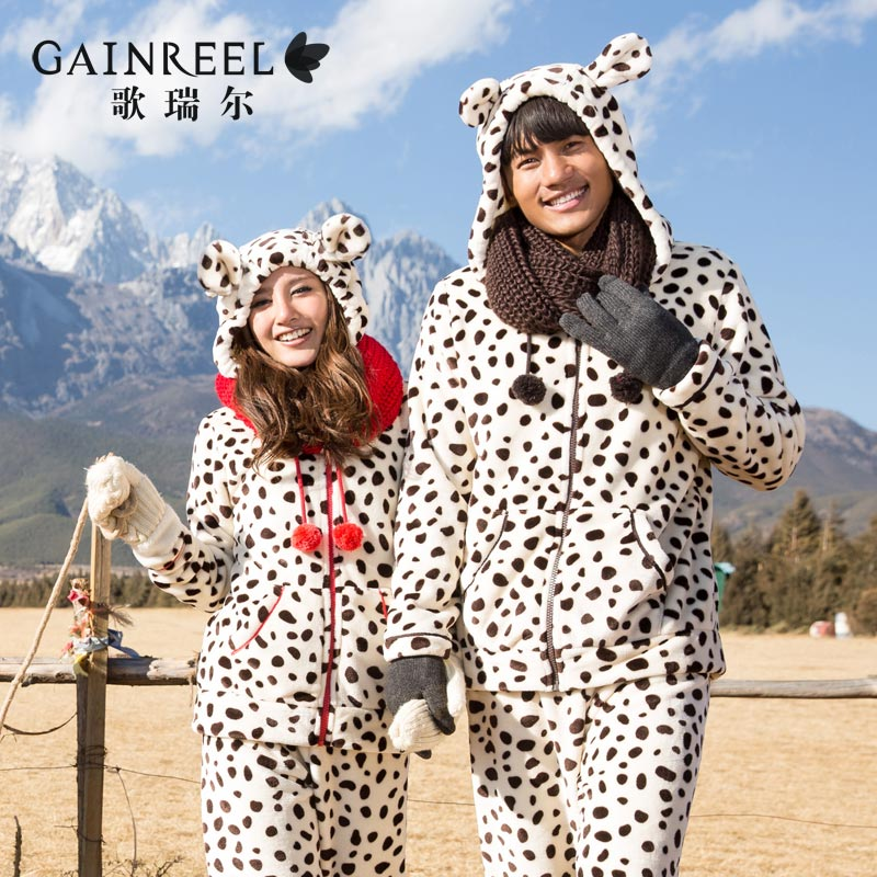 Song Riel autumn and winter flannel pajamas cartoon cows animal lovers men and women home service