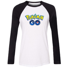 iDzn Women T-shirt Pokemon Go Game Fans Poke Ball PokeBall Pikachu Pattern Raglan Long Sleeve Girl T shirt Sports Lady Tee Tops