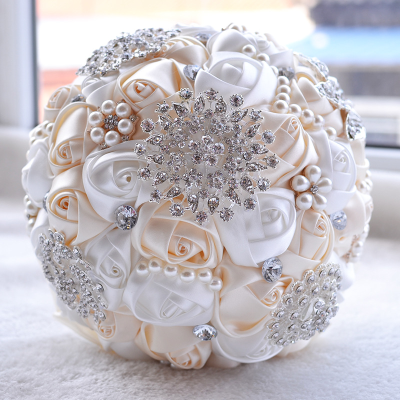 Wedding flower bouquet for bridesmaids beautiful rose pearl crystal