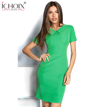 Buy 2017 Womens Elegant dress Vintage Contrast Patchwork Casual Wear Work Office Pencil Sheath Solid Color Short Sleeve dress for $9.98 in AliExpress store