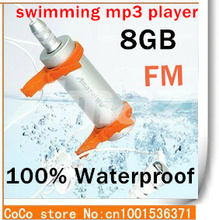 Newest Hot 8GB water resistance IPX8 mp3 Waterproof sport MP3 Player Water proof MP3 Headphones+FM Radio with 1pcs(China (Mainland))