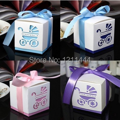 10pcs/lot Baby Shower Ribbon Favour Gift Candy Boxes Wedding Favor holiday supplies wedding invitations party supplies(China (Mainland))