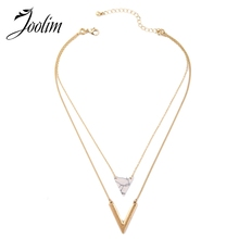 Buy JOOLIM Jewelry Wholesale/ White Marble V Charm Necklace Pendant Necklace Statement Factory supply free for $1.91 in AliExpress store