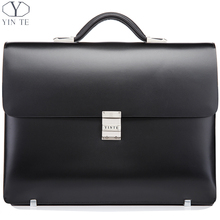 New Arrival Fashion Black Briefcase Men's Business Briefcase Leather High Quality Genuine Leather Laptop Messenger Bag(China (Mainland))