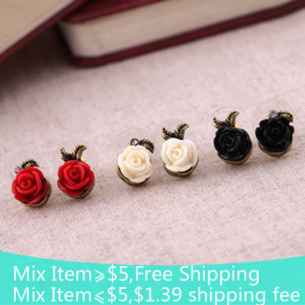 2015 vintage jewelry Wholesale price retro roses flower asymmetric Stud earrings for women jewelry 2015(China (Mainland))