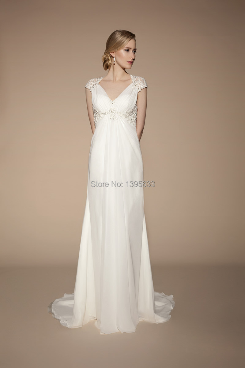 exquisite short sleeves and empire waist for aline wedding dress p empire wedding dress Exquisite Short Sleeves And Empire Waist For A line Wedding Dress