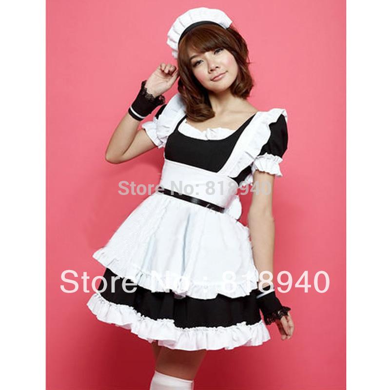 French Maid Outfit Waitress Fancy Dress Ruffle Costume Lolita Cosplay Black/Pink 047-3200(China (Mainland))