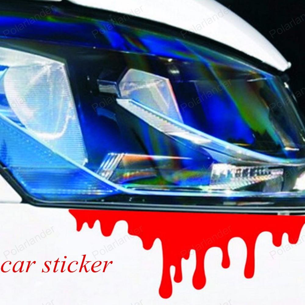 Car visor sticker designs - Cool Creative Reflective Car Decals Rear Front Headlight Sticker New Design Blood Bleeding Car Stickers Door