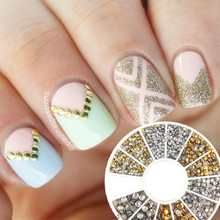 500Pcs 1.2mm/2mm/3mm Mini Gold And Silver Round Stud Rhinestone Nail Art Decoration w/box