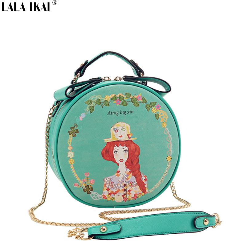 LALA IKAI Spring New Printing Bag Ladies Crossbody Bags Circle Women Leather Handbags Fashion Chains Purse Tote BWA0559-5(China (Mainland))