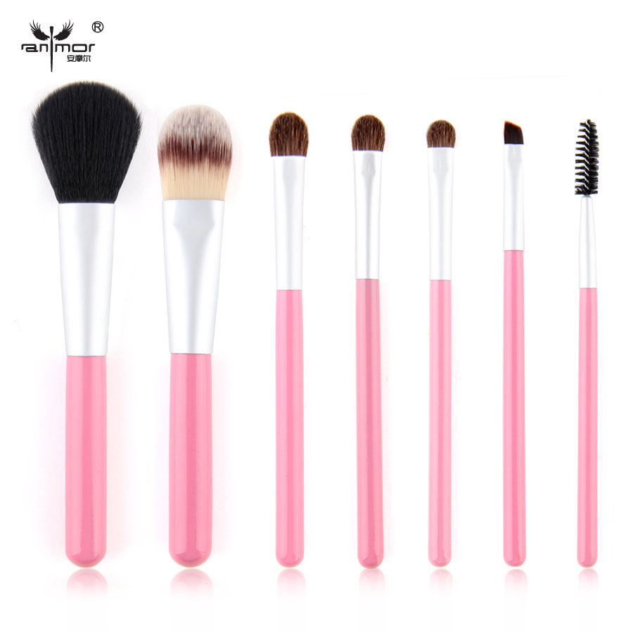 New Arrival 7 pcs Pink Makeup Brushes High Quality Lovely travel set Cosmetic Make Up Brushes Portable Makeup Brush Set(China (Mainland))