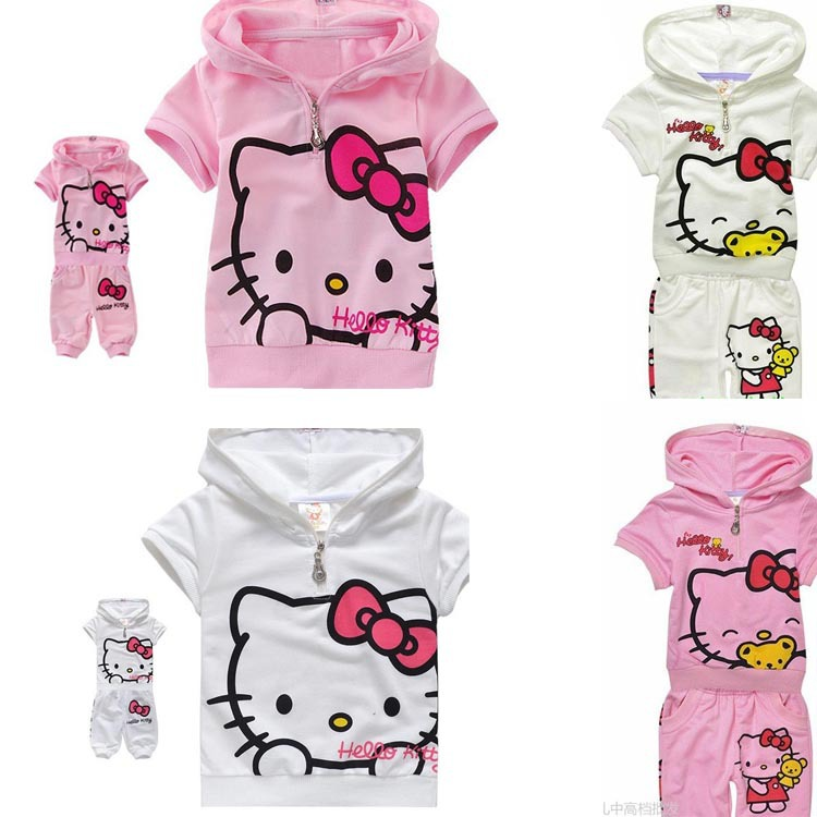 New Cotton Summer Kids Clothes Baby Girls Hello Kitty Set Girl's Hooded T-shirt+shorts Suit 1-5 years Tracksuit Infant wear(China (Mainland))