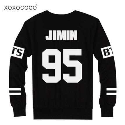 BTS Bangtan בנים ג 'ונג קוק jhope ג' ין גי-מן וי שוגה החולצה החליפה את סתיו ארוך שרוול התחביב Outerwears חולצת טי סוודר