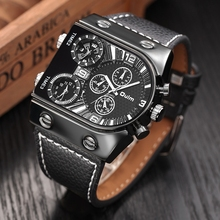 Buy Oulm Men's Watches Mens Quartz Casual Leather Strap Wristwatch Sports Man Multi-Time Zone Military Male Watch Clock relogios for $13.24 in AliExpress store