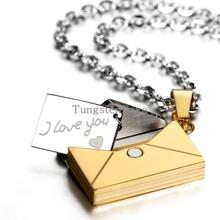 2015 New Openable I LOVE YOU Love Letter Pendants Necklaces Korean Stainless Steel Lovers Jewelry Wholesale Valentine's Gift (China (Mainland))