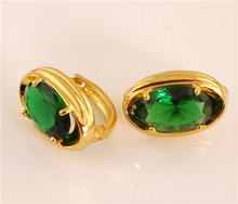New Sale 1pair 18K Gold Filled Green CZ Flash Woman's Hoop Earrings(China (Mainland))