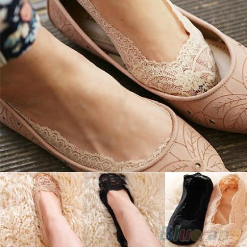 Fashion Women s Cotton Lace Antiskid Invisible Liner Low Cut Socks 1OWN