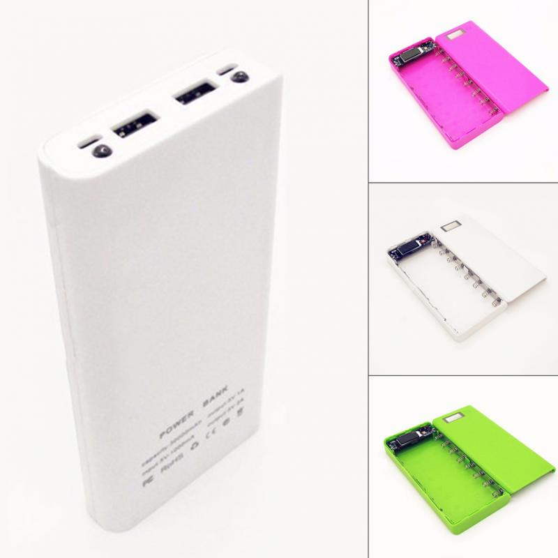 17*8*2.2cm 1A and 2A dual USB outputs Mobile Power bank batterie box 1-8 battery sessions DIY + HD LCD 2 LED lamps 5V 1A/5V 2A(China (Mainland))