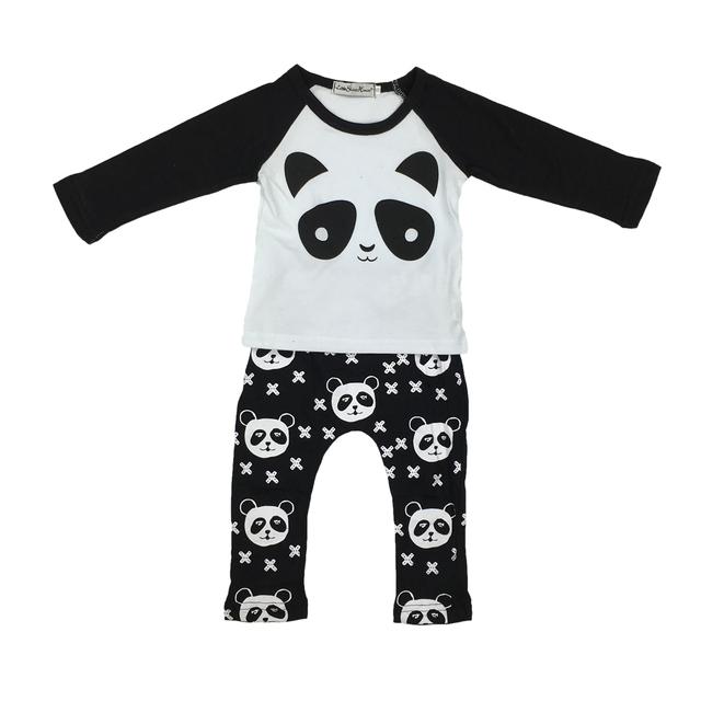 Autumn newborn baby boy/girl clothes cotton panda pattern long sleeve t-shirt + pants 2pcs