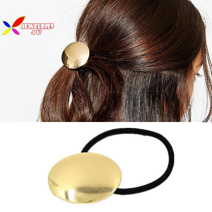 2015 fashion gold metal circle hair-bands elastic hair holder tie hair bands for women accessories Jewelry elasticos de cabelo(China (Mainland))