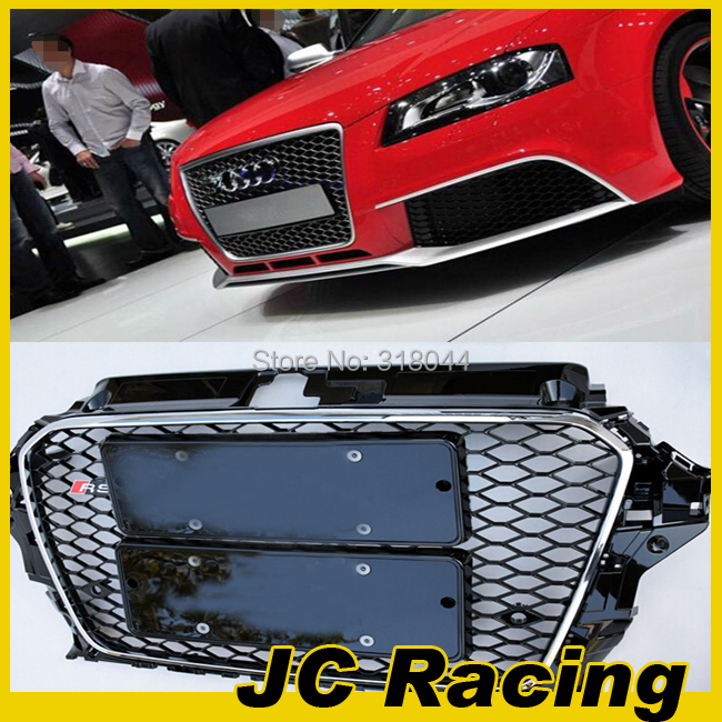 2014 Brand New Chrome Frame Black Mesh Grille, A3 RS3 ABS Auto Car Front Grill For Audi ( Fit For Audi A3 2014)(China (Mainland))