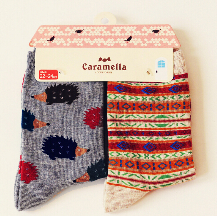 Brand Caramella Autumn Winter Character Cartoon Series Women Cotton Socks For Female Sweet Cute Long Socks