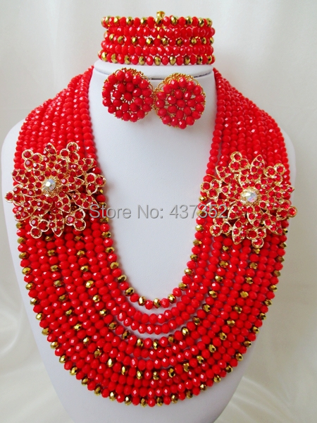 Exclusive Red mixed Gold plated copper Crystal Nigerian Necklaces Stud Earring African Wedding Beads Jewelry Set NC129<br><br>Aliexpress